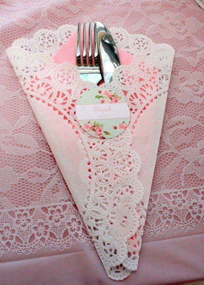 Doily silverware holder. So pretty for a princess party or a tea party.