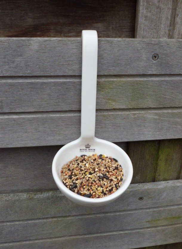Vogelvoer (lucky birds - eating their seed out of a Royal Boch ladle! Good for when you have a snowstorm or cold snap and need to give the birds an extra food source. Pick up one or two at the thrift store and keep them on hand in the garden shed.)