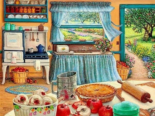 la cocina horneando pastel