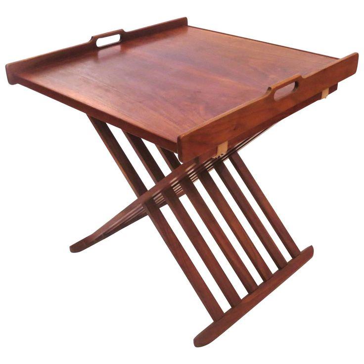 1950s American Modern Mid Century Campaign Style Walnut Folding Table