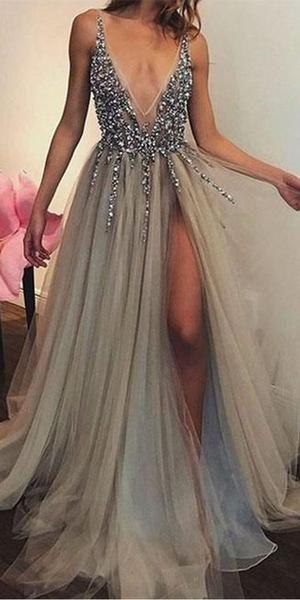 V-neck Tulle Beaded A-line Side Slit Long Prom Dresses RH112 – bridalswish