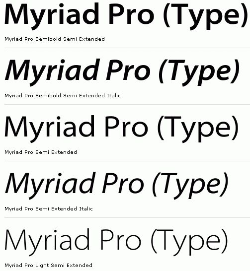 myriad pro-semibold semi ext