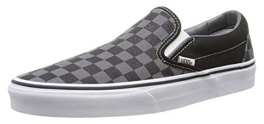 Vans Unisex-Erwachsene Classic Slip-On Low-Top, Schwarz ((Checkerboard),  black/pewter), 44 EU - Sneakers für frauen (*Partner-Link)