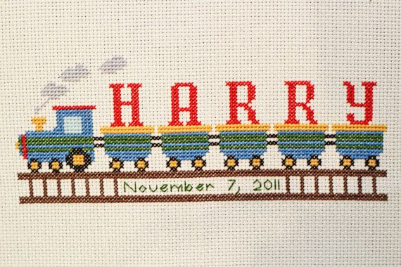 Hey, I found this really awesome Etsy listing at https://www.etsy.com/listing/223591660/birth-announcement-train-cross-stitch