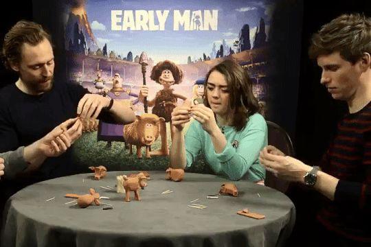 Addicted to Eddie — Eddie Redmayne, Maisie Williams and Tom Hiddleston make Hognob figures -...