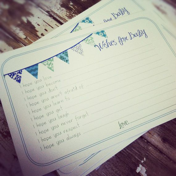 Wishes for Baby Boy Cards - Unique Baby Shower Activity Game or Memory Book Idea - Set of 50 - Blue and Green