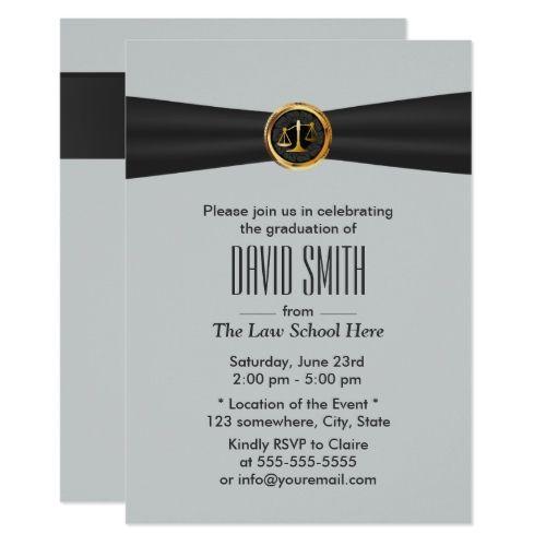 Modern Black Ribbon Silver Law School Graduation Card