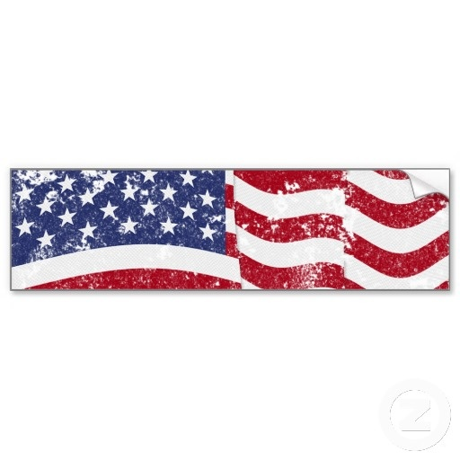 American flag waving distressed bumper sticker