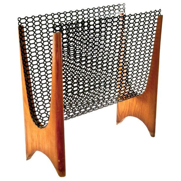 Mid-Century Mesh Magazine Rack i want this for my house, maybe wendell can make it for me
