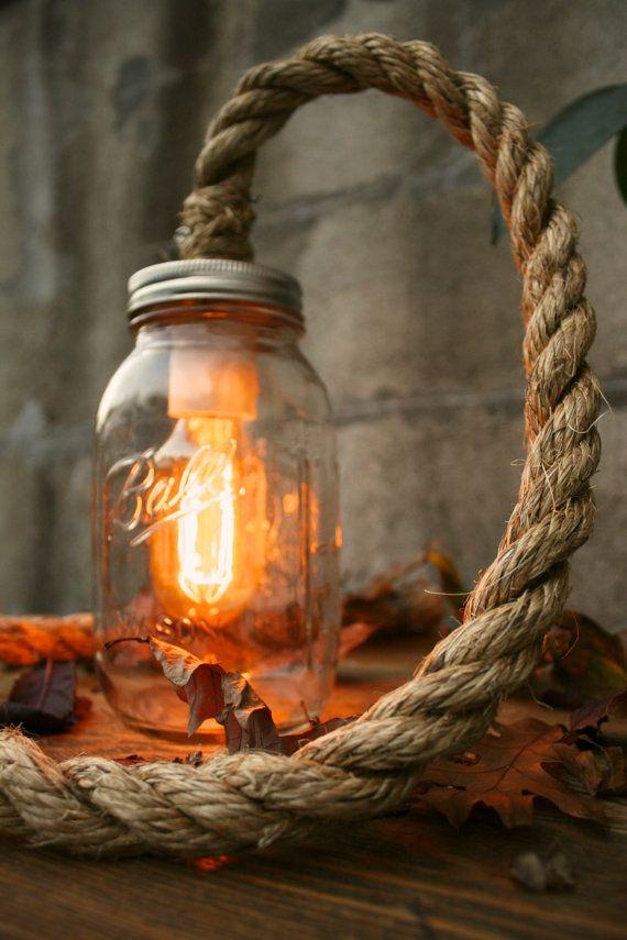 Mason Jar Lighting Rustic Wedding Decor Glass Lighting Shabby Chic Lighting Night Light or Desk Lamp - Vintage Industrial Rope Design