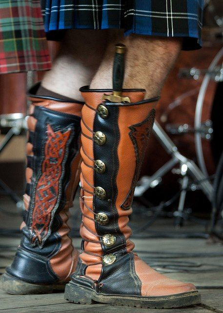 The Sgian-dubh is small, singled-edged knife(Gaelic sgian) worn as part of traditional Scottish Highland dress along with the kilt.