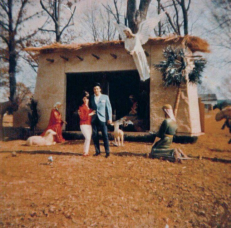 Elvis & Priscilla - Nativity Scene at Graceland, mid-1960's
