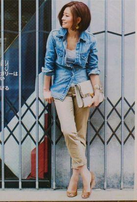 デニムシャツのレディース コーデ集(女性 着こなし ダンガリー ユニクロ gu 春 しまむら楽天 - NAVER まとめ
