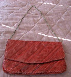 Vintage red snakeskin purse
