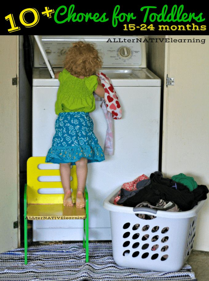 Practical Life Skills for Toddlers - Choore list including loading the washing machine for 15-24 month olds | ALLterNATIVElearning.com #shop #cbias