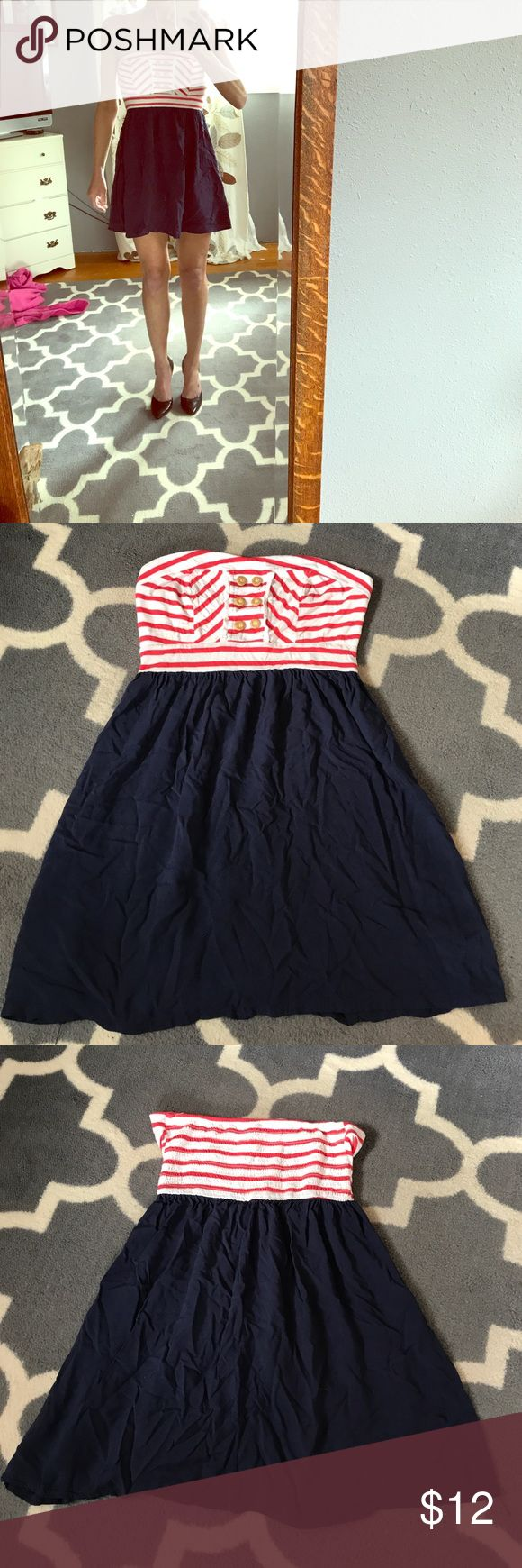 Strapless Nautical Dress Doesn't it look perfect for 4th of July...or anytime? Xhilaration Dresses Strapless