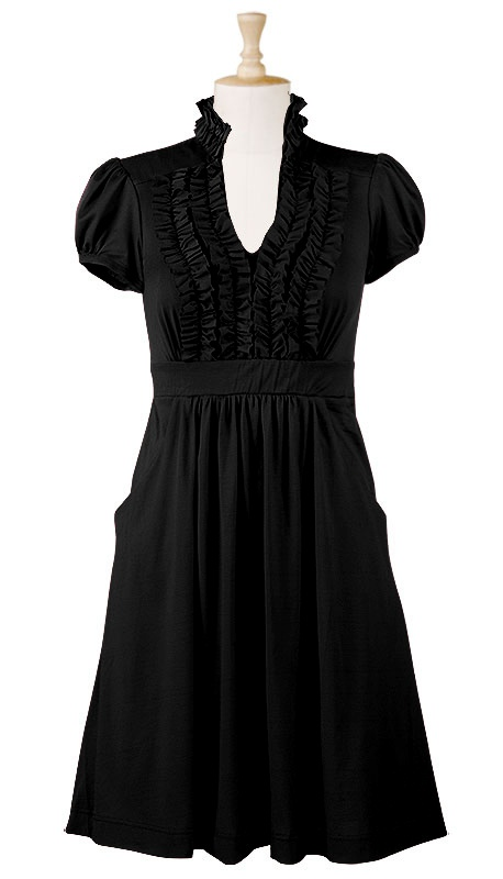 Ruffle front cotton knit dress