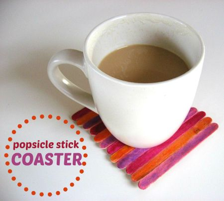 Popsicle stick coaster (No Time for Flashcards blog)