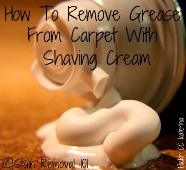 Believe it or not, shaving cream actually works for removing grease from carpet!