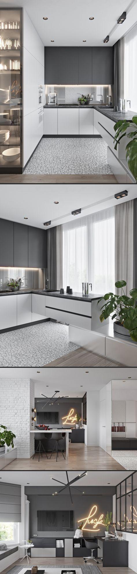 Limpieza y amplitud en una cocina blanca