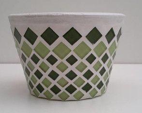 Vaso para violeta de mosaico tons verde