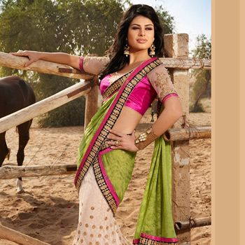 Olive Green Faux Chiffon and Net Lehenga Style Saree with Blouse