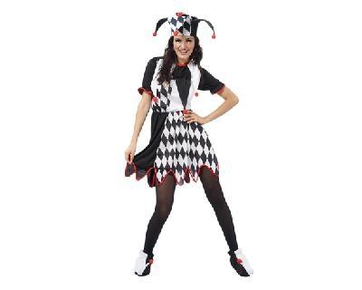 disfraz de bufón para mujer bt 8063  El vestido es de licra con dos tonos negro y blanco    incluye sombrero y vestido.    Categoria: disfraz de payaso, divertido y humor para fiestas divertidas y graciosas.   Talla: m/l (Licra)