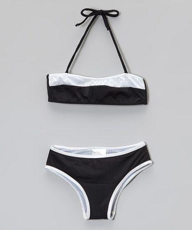 Another great find on #zulily! Black & Silver Bandeau Bikini by 9's Swimwear #zulilyfinds