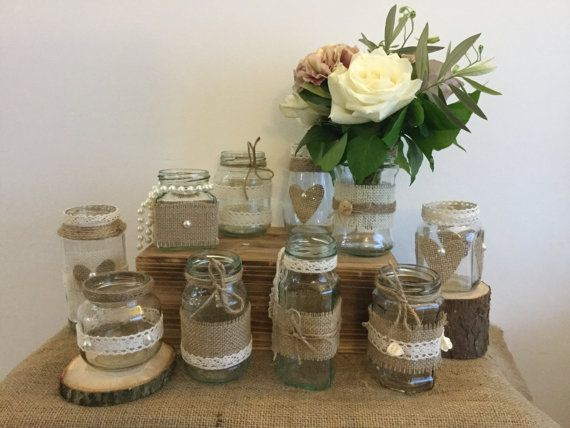 10 X Handmade Rustic Wedding Glass Jam Jar Centrepiece Tea