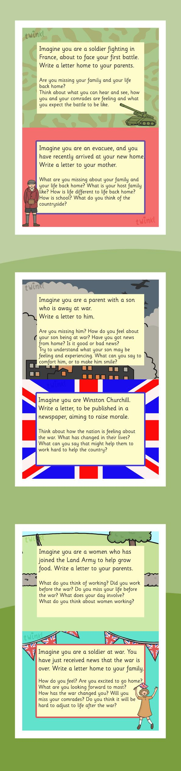World War 2 Letter Writing Challenge Cards