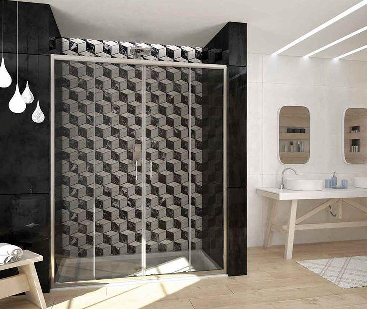 Box #doccia basso con 2 ante scorrevoli, vetro #temperato e struttura in #alluminio anodizzato