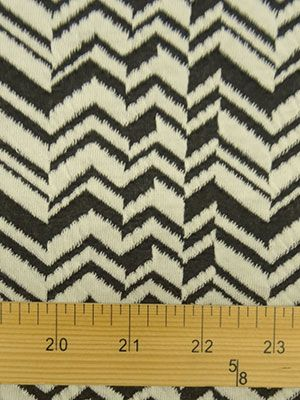 """Black/White Broken Herringbone Jacquard Double Knit 57W.....UUC2825 ContentPolyester/Lycra Color(s)Black/White Width58"""" WeightLight; Falls Moderately Close to the Body StretchSelvage to Selvage Use(s)T-Shirt, Tank Top, Tunic, Dress, Skirt, Scarf, Wrap. CareGentle Wash/Tumble Dry Low AdditionalJacquard Double Knit. Broken Herringbone Design. Soft,Supple Hand. Semi-Opaque. 3"""" W Repeat Unit..... Sold elsewhere:$15.00 Our price:$7.99  Special offers price:$4.00 save 50%"""