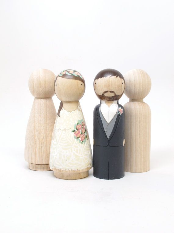 """4 Peg Doll Wedding Cake Toppers, size 3.5"""" // Fair Trade Wooden Dolls Wedding Decor Cake Toppers - With Instruction booklet"""