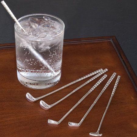Golf Club Cocktail Stir Sticks, Golf Club Shaped Swizzle, Golfers Drinking Gift