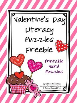 Valentine's Day printable word puzzles - Free