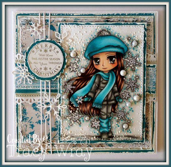 Digital Stamp Suzie Snowflakes 252 Digi Stamp by artbymiran
