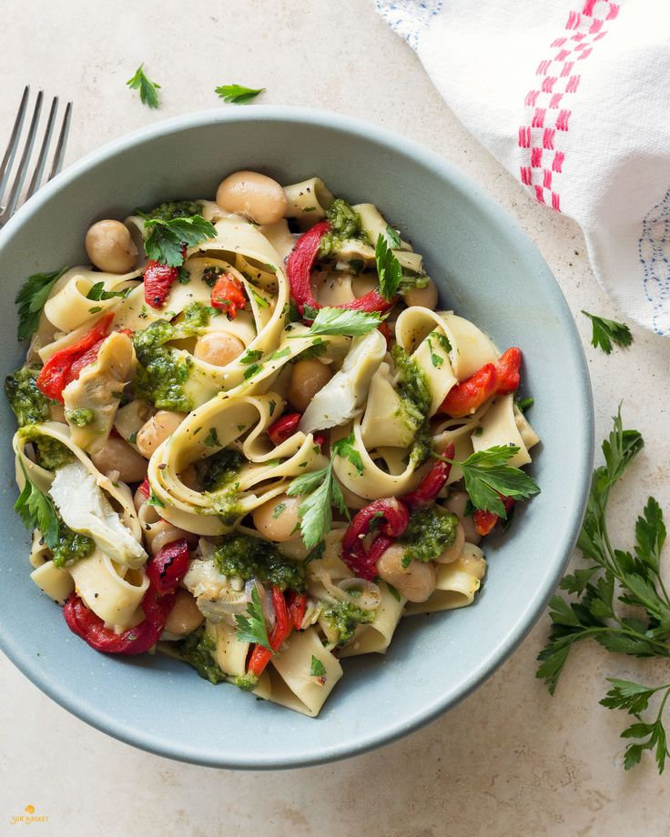 Pappardelle with artichokes, butter beans, and basil pistou #vegetarian #soyfree #recipe