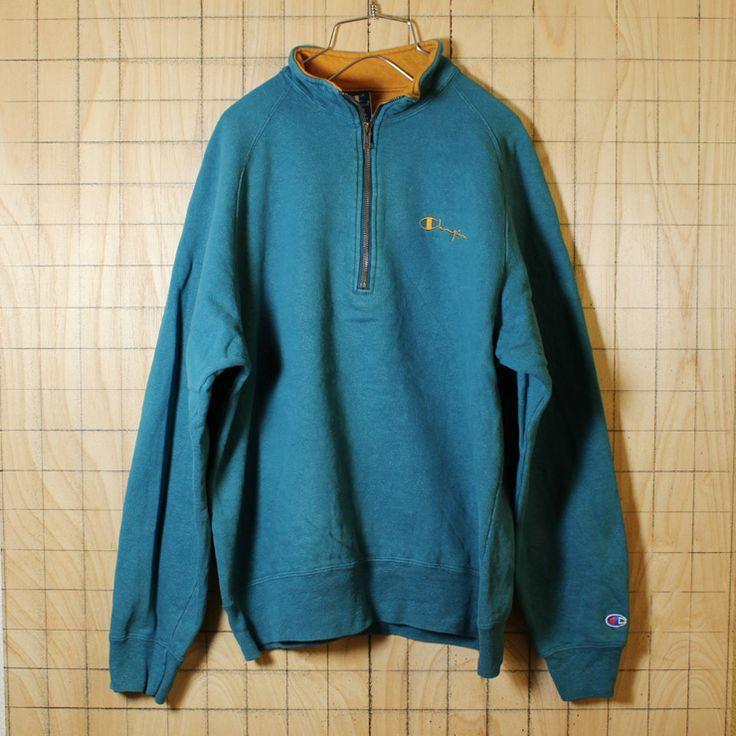 champion/90's古着/グリーン/ハーフジップ/ワンポイント刺繍スウェット/メンズXL/sw-179