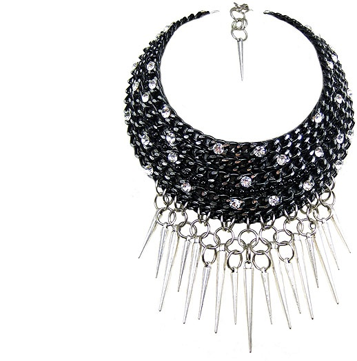 Jewellery by Karen black chain, rhinestone and silver tone spike choker. Details: http://jewellerybykaren.com/boutique/necklaces/necklace-1053n