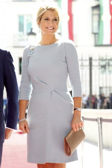 Queen Máxima of the Netherlands looks regal in pearl grey and aquamarine jewels in Spain 9/18/2013