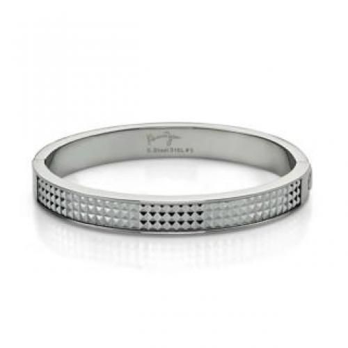 White Pyramid Bangle(S) Steel - One Size