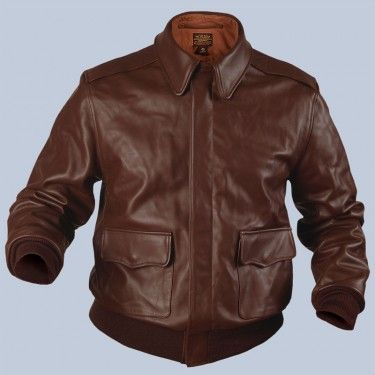 Bomber Jacket Mil. Spec A-2 Leather Jacket (pictured in horsehide russet)  Flight Jacket Available in Seal Brown and Russet Horsehide, and Medium Brown Goatskin.100% cotton lining, 100% wool knit cuffs and waistband.True to the original: One piece back, two piece sleeves. A/N inspection stamp and Air Corp stamp on the lining.  Explore the collection of our military spec. flight jackets at a discounted price. Made IN THE USA www.flightJacket.com