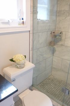 Master Ensuite, marble, tiled shower, hydrangea
