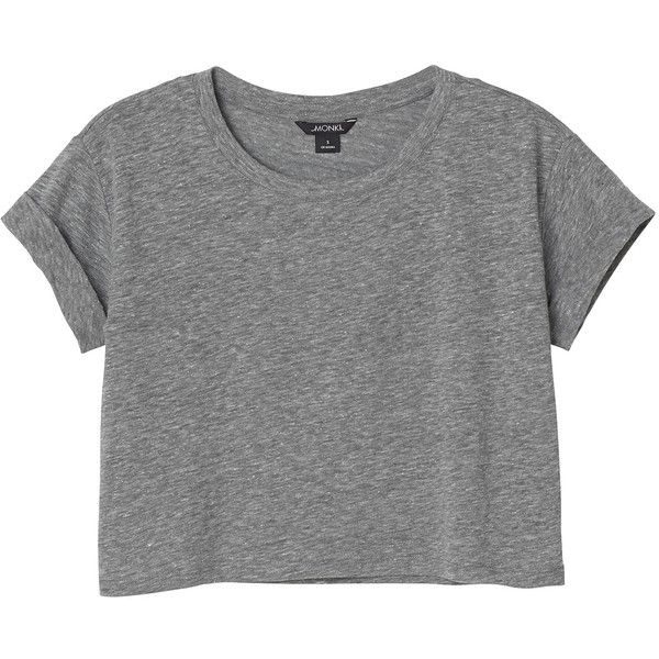 Monki Mimmi tee ($11) ❤ liked on Polyvore featuring tops, t-shirts, shirts, crop tops, grey cloud melange, t shirts, loose fit t shirts, gray tee, loose tee and grey t shirt