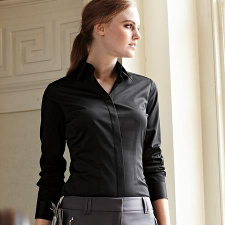 Black stretch semi-fitted shirt | Women's shirts from Charles Tyrwhitt, Jermyn Street, London £19.95