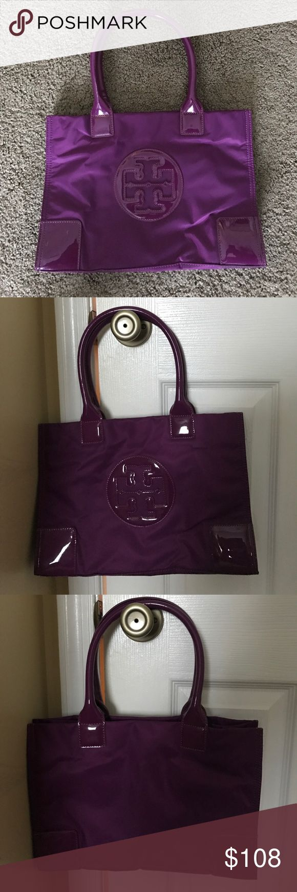 """Tory Burch mini Ella tote purple Tory Burch purple mini Ella tote.  This bag was only used once.  It is in great condition with no ware.  Dimensions from Nordstrom's website are as follows: 13.5""""W x 9.5""""H x 4.5""""D, 7"""" strap drop. Tory Burch Bags Totes"""