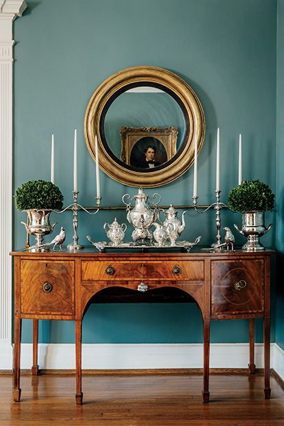 "Photo Credit: Audra Melton. A sideboard in an Atlanta home. <br><b><em><a href=""http://gardenandgun.com/article/trail-silver-thief""target=""_blank"">>Read the full article here</a></em></b></br>"