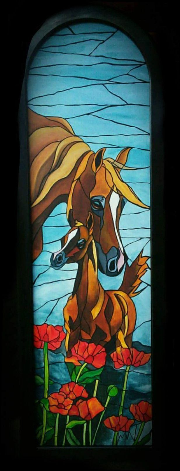 Very unique and eye catching, these gorgeous stained glass style paintings can be custom painted by Wendy. Prices range from $500 and up, sizes and shapes will vary.