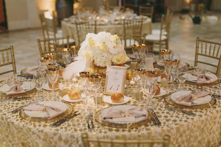 La Tavola Fine Linen Rental: Hollywood Gold over Nuovo White with Peau de Soie Champagne Napkins  | Photographer: Jake and Necia Photography, Event Planner & Designer: Simple Little Details, Flowers: Asiel Designs