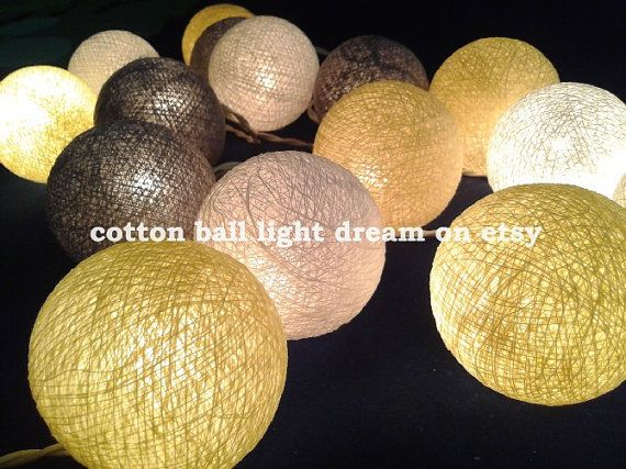 20 Light gray,white, yellow balls lighting decorative,string lights,party lighting patio lights